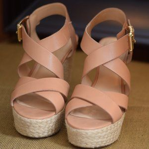 Michael Kors Leather Wedge Sandals Shoes
